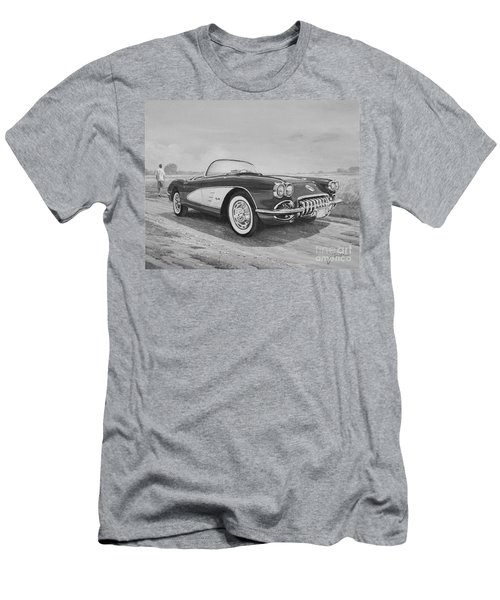 1959 Chevrolet Corvette Cabriolet In Black And White Men's T-Shirt (Athletic Fit)