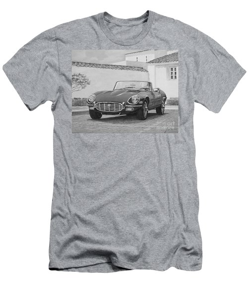 1961 Jaguar Xke Cabriolet In Black And White Men's T-Shirt (Athletic Fit)