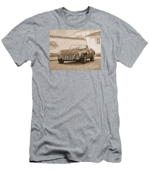 1961 Jaguar Xke Cabriolet In Sepia Men's T-Shirt (Athletic Fit)