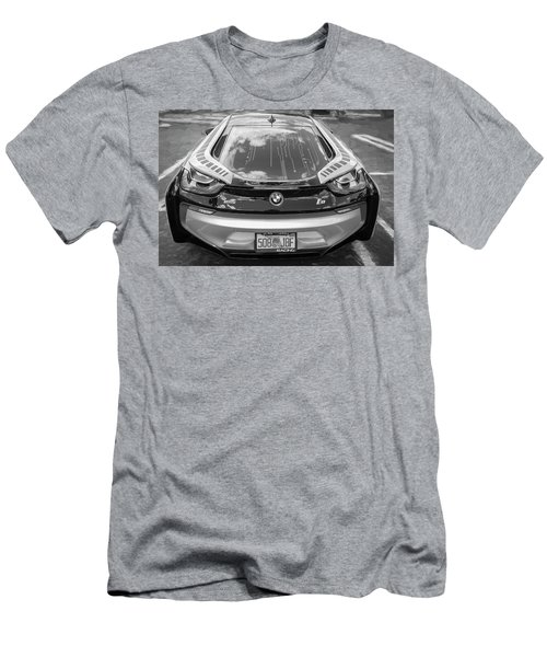 Men's T-Shirt (Slim Fit) featuring the photograph 2015 Bmw I8 Hybrid Sports Car Bw by Rich Franco