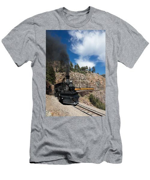 Men's T-Shirt (Slim Fit) featuring the photograph A Durango And Silverton Narrow Gauge Scenic Railroad Train Chugs Through The San Juan Mountains by Carol M Highsmith