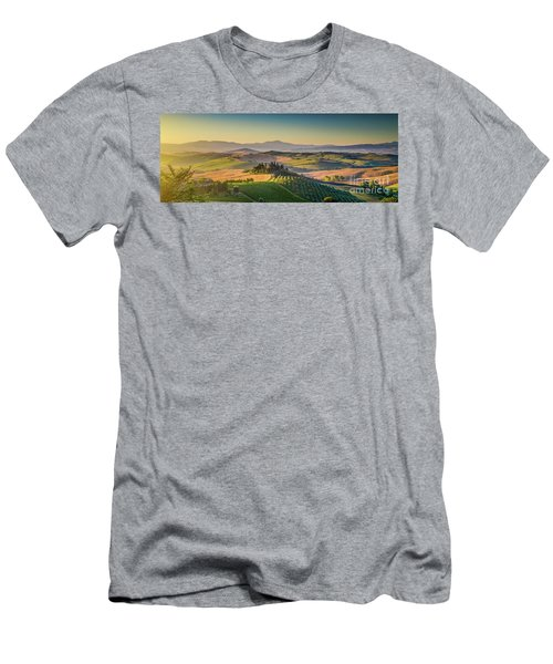 A Golden Morning In Tuscany Men's T-Shirt (Slim Fit) by JR Photography