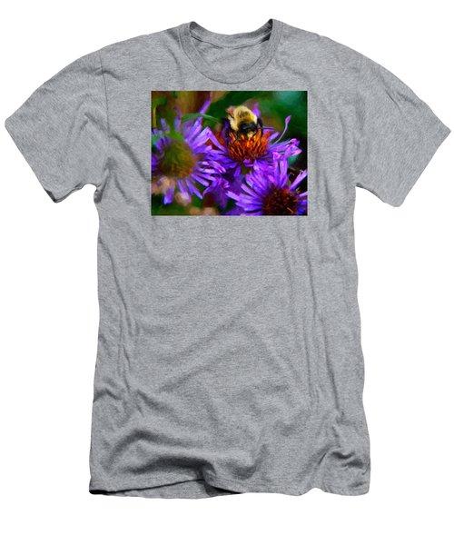 Bee On Purple Flower Men's T-Shirt (Slim Fit) by Andre Faubert