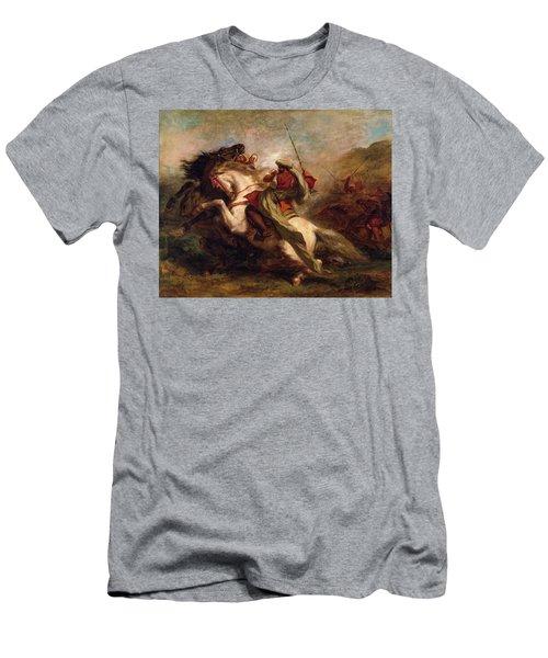 Men's T-Shirt (Slim Fit) featuring the painting Collision Of Moorish Horsemen by Eugene Delacroix