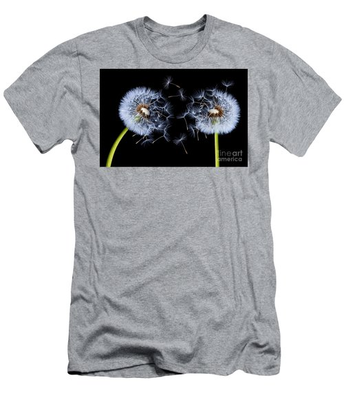 Men's T-Shirt (Slim Fit) featuring the photograph Dandelion On Black Background by Bess Hamiti