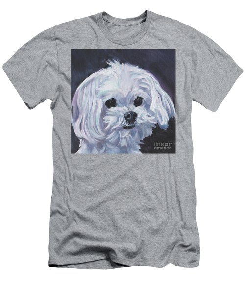 Men's T-Shirt (Slim Fit) featuring the painting Maltese by Lee Ann Shepard