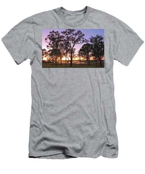 Misty Rural Scene With Dam And Trees Men's T-Shirt (Athletic Fit)