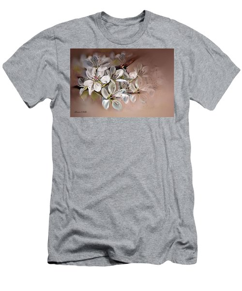 Men's T-Shirt (Slim Fit) featuring the painting Oriental Pear Blossom by Bonnie Willis