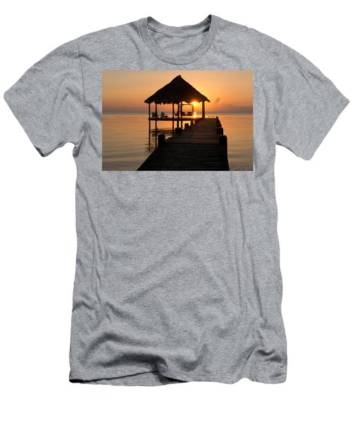 Pier With Palapa On Caribbean Sea Men's T-Shirt (Athletic Fit)
