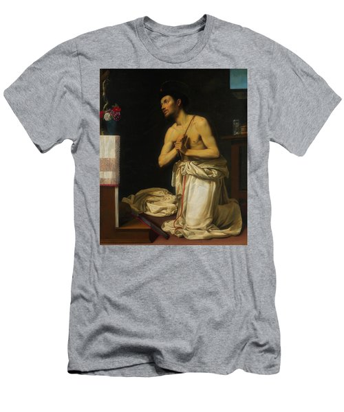 Men's T-Shirt (Slim Fit) featuring the painting Saint Dominic In Penitence by Filippo Tarchiani