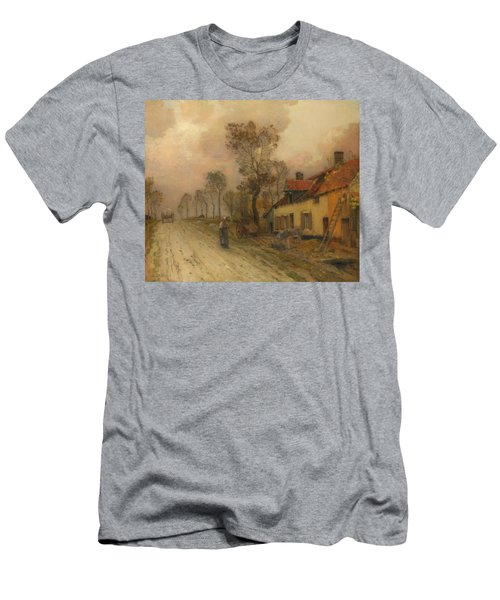 Men's T-Shirt (Slim Fit) featuring the painting The Route Nationale At Samer by Jean-Charles Cazin