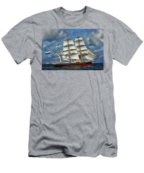 Three Mast Schooner Men's T-Shirt (Slim Fit) by Anthony Dezenzio