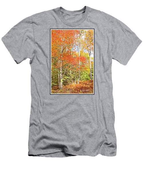 Men's T-Shirt (Slim Fit) featuring the digital art Forest Interior Autumn Pocono Mountains Pennsylvania by A Gurmankin