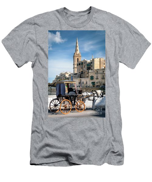 Tourist Horse Carriage In Old Town Street La Valletta Malta Men's T-Shirt (Athletic Fit)