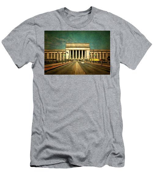 Men's T-Shirt (Slim Fit) featuring the mixed media 30th Street Station Traffic by Trish Tritz