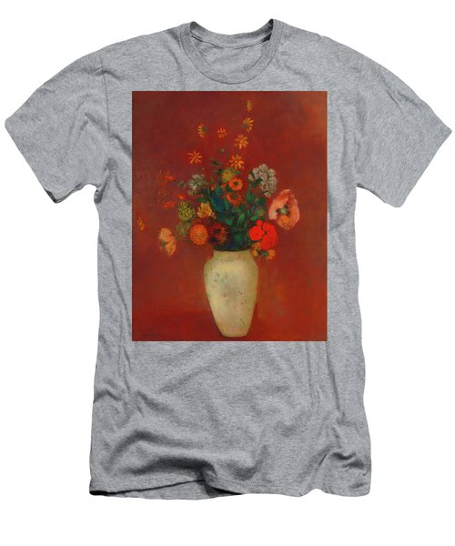 Men's T-Shirt (Slim Fit) featuring the painting Bouquet In A Chinese Vase by Odilon Redon