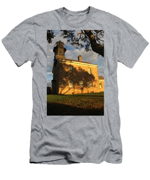 Lighthouse Old Field Point New York Men's T-Shirt (Slim Fit) by Bob Savage