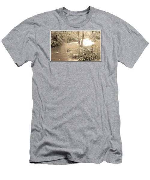 Men's T-Shirt (Slim Fit) featuring the photograph Mud Run Pocono Mountain Stream Pennsylvania by A Gurmankin