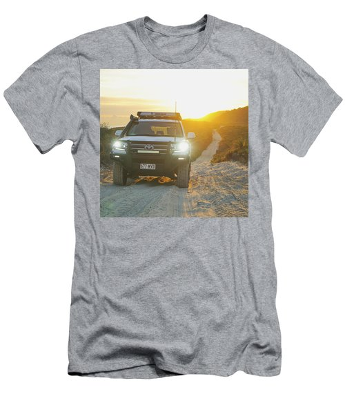 4wd Car Explores Sand Track In Early Morning Light Men's T-Shirt (Athletic Fit)