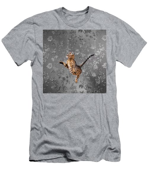 Bengal Cat Jumping Men's T-Shirt (Athletic Fit)