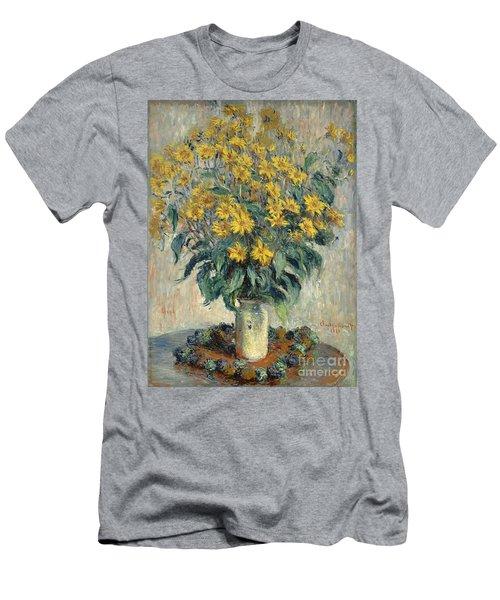 Jerusalem Artichoke Flowers Men's T-Shirt (Slim Fit) by Claude Monet