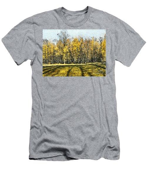Watercolor Landscape Autumn Painting Forest Men's T-Shirt (Athletic Fit)