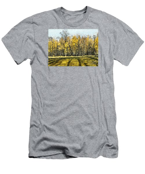Watercolor Landscape Autumn Painting Forest Men's T-Shirt (Athletic Fit)