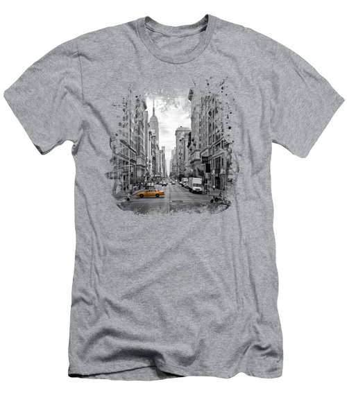 New York City 5th Avenue Men's T-Shirt (Slim Fit) by Melanie Viola