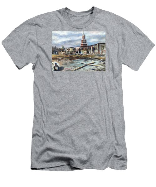 Men's T-Shirt (Slim Fit) featuring the painting Union University Jackson Tennessee 7 02 P M by Randol Burns
