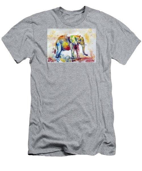 Big Colorful Elephant Men's T-Shirt (Athletic Fit)