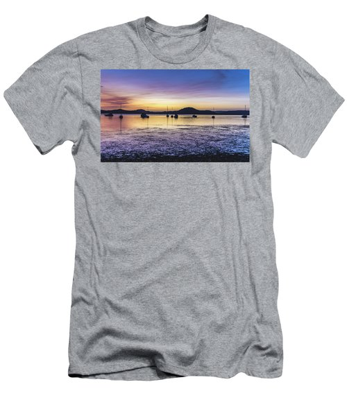 Dawn Waterscape Over The Bay With Boats Men's T-Shirt (Athletic Fit)
