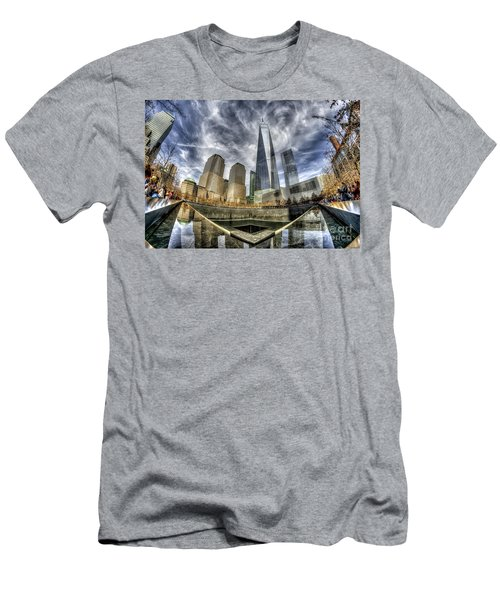 Men's T-Shirt (Slim Fit) featuring the photograph 9/11 Memorial - Nyc by Rafael Quirindongo