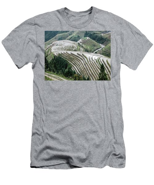 Men's T-Shirt (Athletic Fit) featuring the photograph Terrace Fields Scenery In Spring by Carl Ning