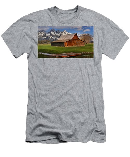 A Barn In The Tetons Men's T-Shirt (Slim Fit) by Adam Jewell