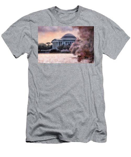 Men's T-Shirt (Slim Fit) featuring the digital art A Cherry Blossom Dawn by Lois Bryan