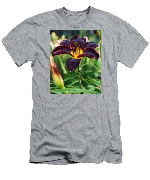 Men's T-Shirt (Slim Fit) featuring the photograph A Dark Purple Tiger Lilly by B Wayne Mullins