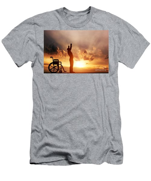 A Disabled Man Standing Up From Wheelchair Men's T-Shirt (Athletic Fit)