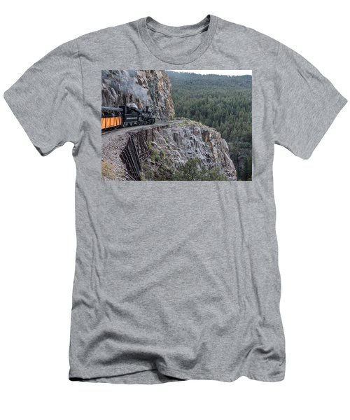 Men's T-Shirt (Slim Fit) featuring the photograph A Durango And Silverton Narrow Gauge Scenic Railroad Train Along A San Juan Mountains Precipice by Carol M Highsmith