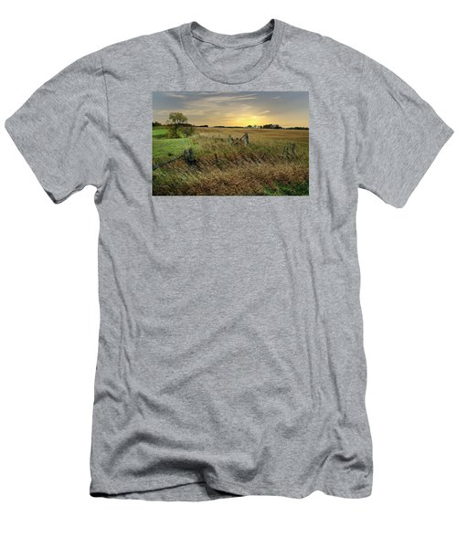 Men's T-Shirt (Slim Fit) featuring the photograph A Field Of Gold by Judy  Johnson