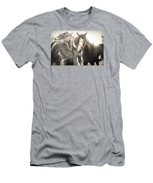 Men's T-Shirt (Slim Fit) featuring the photograph A Girl And Horses In The Sun Sepia by Kelly Hazel