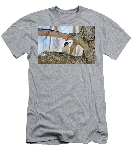 Men's T-Shirt (Slim Fit) featuring the photograph A Male Downey Woodpecker  1111 by Michael Peychich