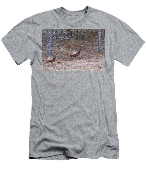 Men's T-Shirt (Slim Fit) featuring the photograph A Pair Of Turkeys 1152 by Michael Peychich