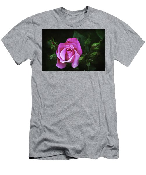 A Pink Rose Men's T-Shirt (Slim Fit) by Trina Ansel