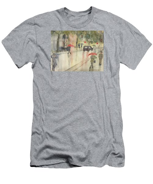A Rainy Streetscene  Men's T-Shirt (Slim Fit) by Lucia Grilletto
