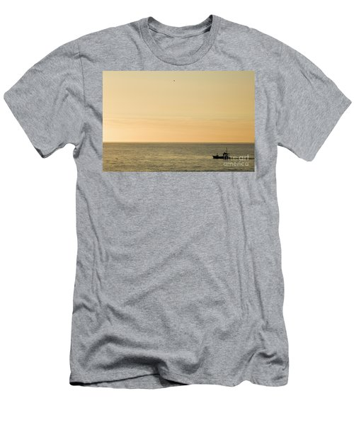 A Small Fishing Boat In Sunset Over Cardigan Bay Aberystwyth Ceredigion West Wales Men's T-Shirt (Athletic Fit)