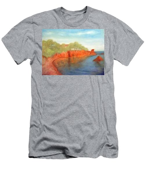 A Small Inlet Bay With Red Orange Rocks Men's T-Shirt (Athletic Fit)