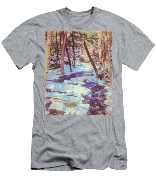 A Small Stream Meandering Through Winter Landscape. Men's T-Shirt (Athletic Fit)