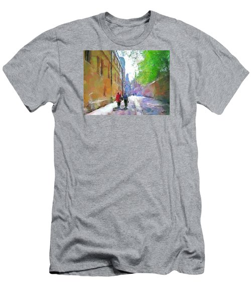 Men's T-Shirt (Slim Fit) featuring the painting A Stroll In The Alley by Wayne Pascall