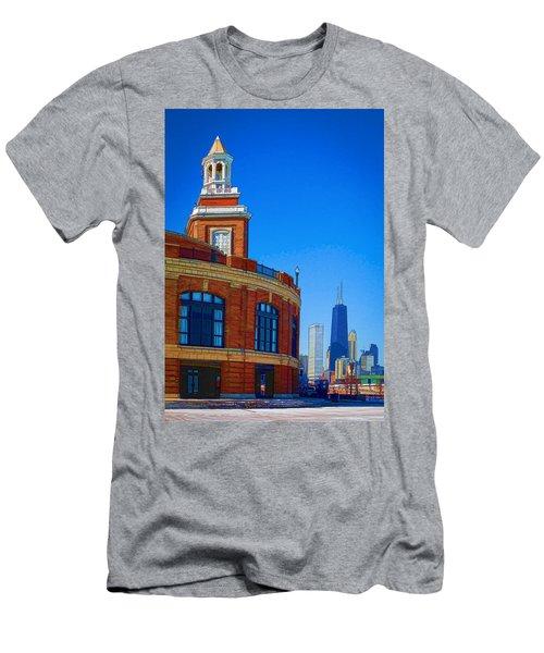 A Textured Navy Pier Men's T-Shirt (Slim Fit) by Kathleen Scanlan