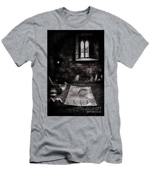 Men's T-Shirt (Slim Fit) featuring the photograph A Tombstone In Sligo Abbey Bw by RicardMN Photography